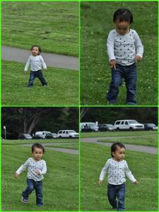 草坪上嬉戲的快樂小孩